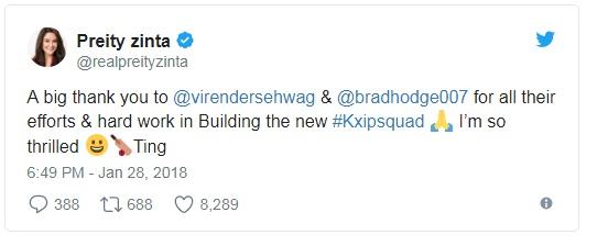 আইপিএল ২০১৮: কিংস ইলেভেন পাঞ্জাবের মালকিন প্রীতি জিন্টা শক্তিশালী দল বানানোর পর তার খুশি জাহির করলেন