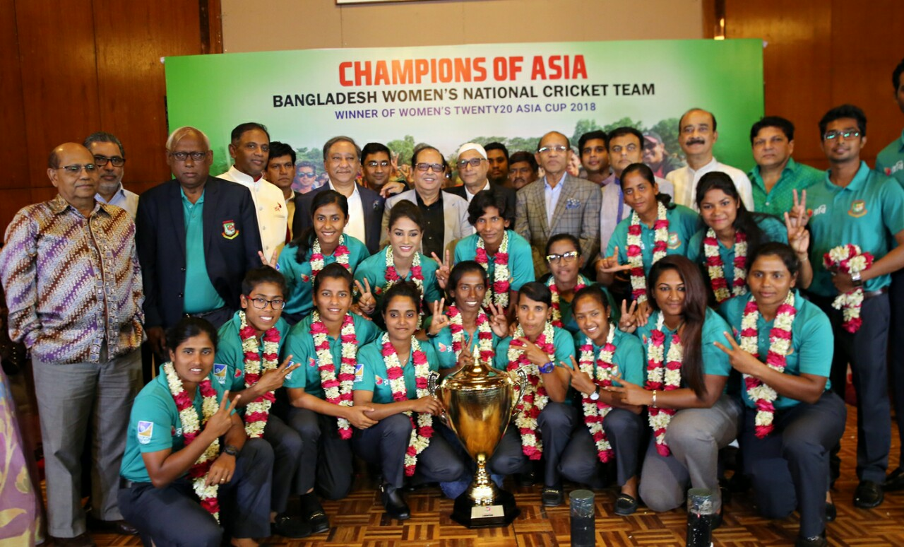 বাংলাদেশ ক্রিকেট বোর্ড (বিসিবি) মহিলা এশিয়া কাপ টি টুয়েন্টি ২০১৮ ফাইনালে জেতা বাংলাদেশ মহিলা ক্রিকেট দলকে স্বাগত জানায় 1