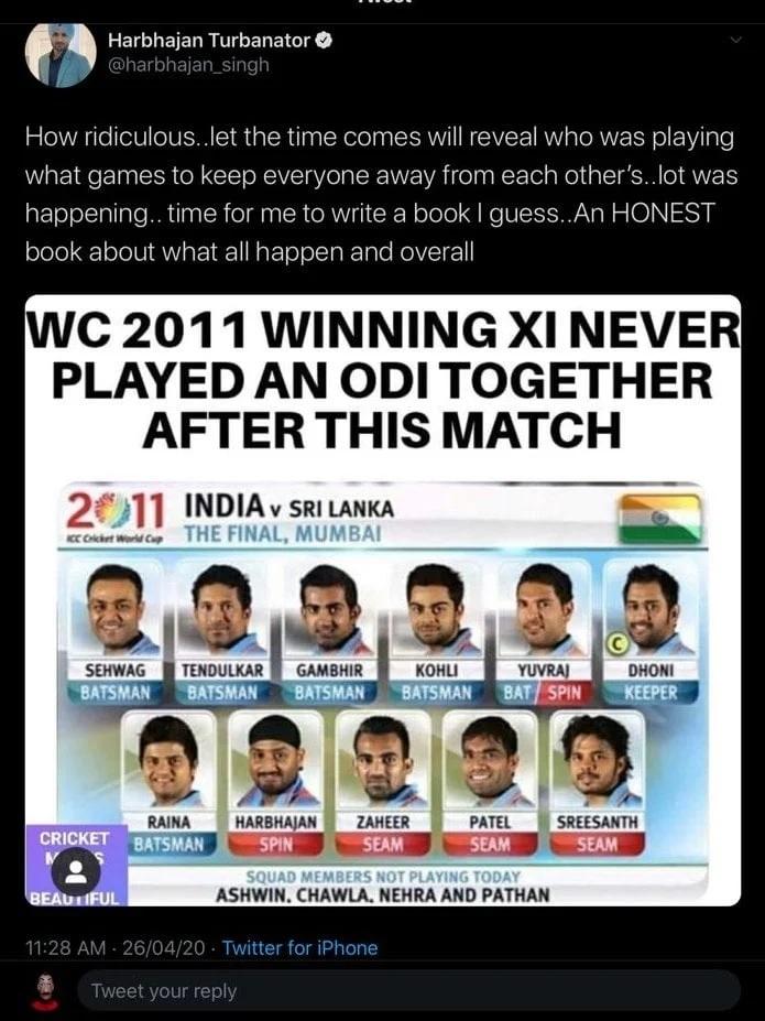হরভজন সিং বললেন ২০১১ বিশ্বকাপ ফাইনা্লে খেলা ভারতীয় দলের বিরুদ্ধে কেউ করেছিল ষড়যন্ত্র 3