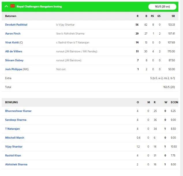 RCBvsSRH: ডেভিড ওয়ার্নারের এই ভুলের কারণে আরসিবি সানরাইজার্সকে ১০ রানে হারাল 4